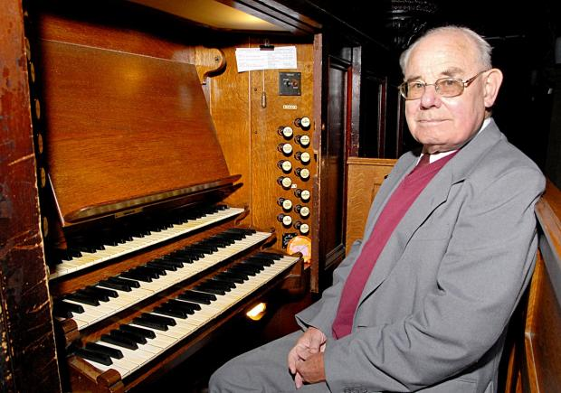 Malvern Gazette: NOTEWORTHY EFFORT: Churchwarden Adrian Taylor at the keyboard of the 1852 organ.