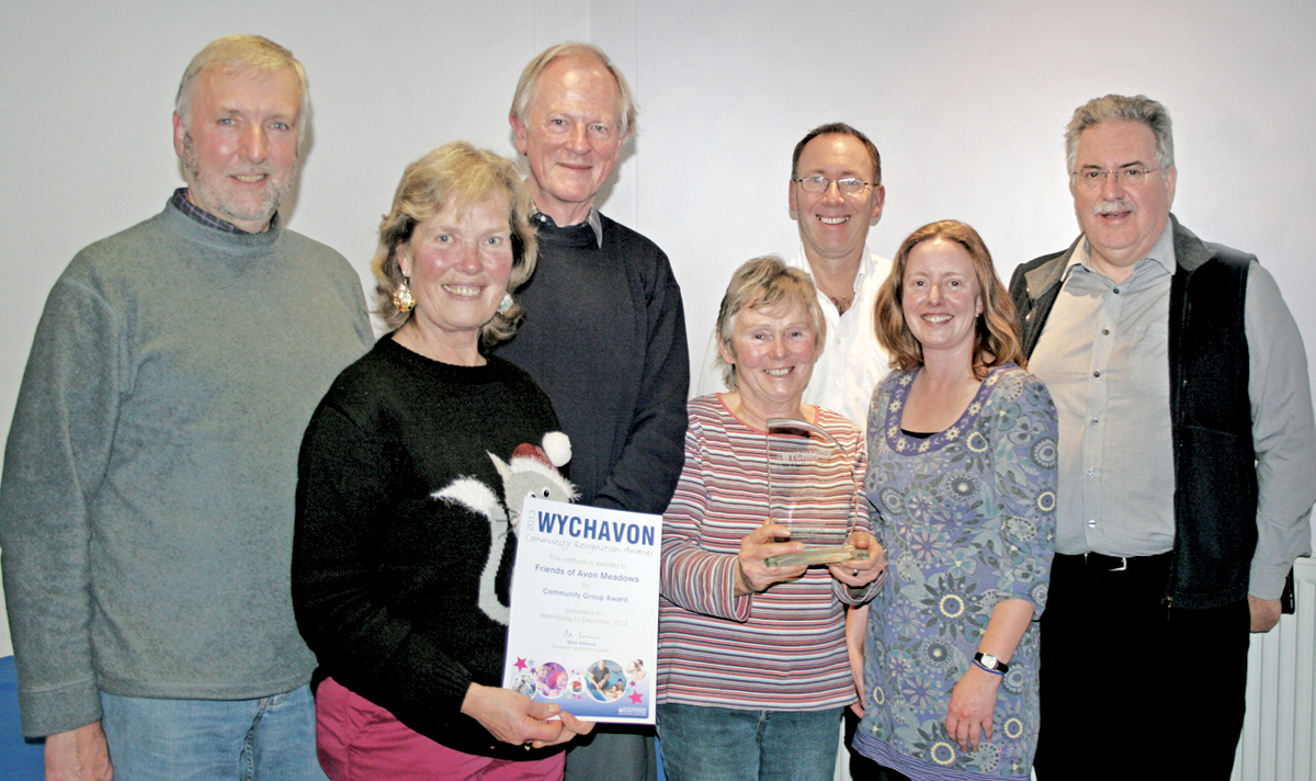 FRIENDS OF AVON MEADOWS: Celebrating the community group award, from left, Dave Jeynes, Coun Val Wood, Richard Stott, Heather Greenhalgh, heritage manager Jim Burgin, Liz Etheridge of Wychavon District Council and Bob Gillmor.