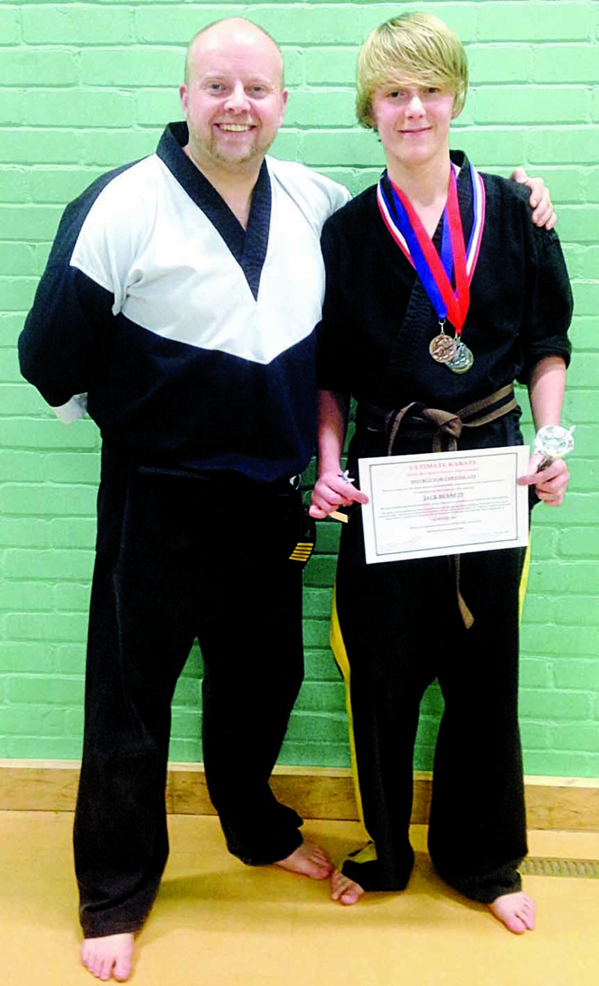 TOP DUO: Ultimate Karate shihan Neil Bennett and his son Jack, who is an award winning competitor.