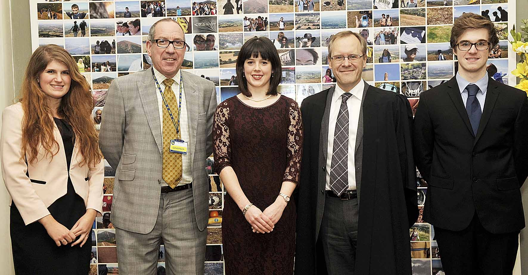 (3611578) The Chase's head girl Catriona Hall, chairman of governors Richard Moyse, guest speaker Victoria West, headteacher Richard Jacobs and head boy Eddie Paisley pictured earlier this year.