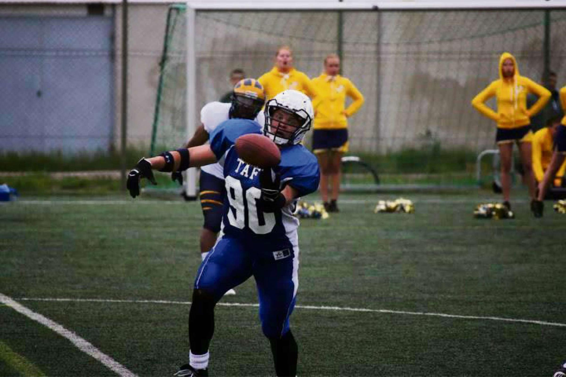American footballer Okko Outinen in action