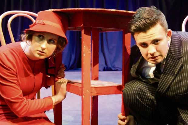Malvern Gazette: Blousy, played by Jamie Williams, with Bugsy Malone, played by Michael Hill