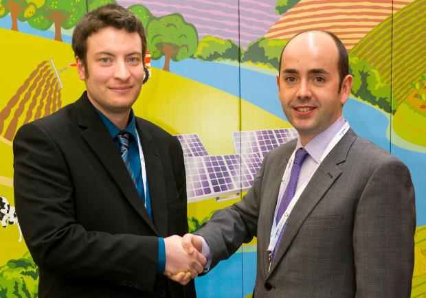 Greg Davies (left), from Suckley, near Worcester, pictured with Energy Now Expo organiser, David Jacobmeyer.