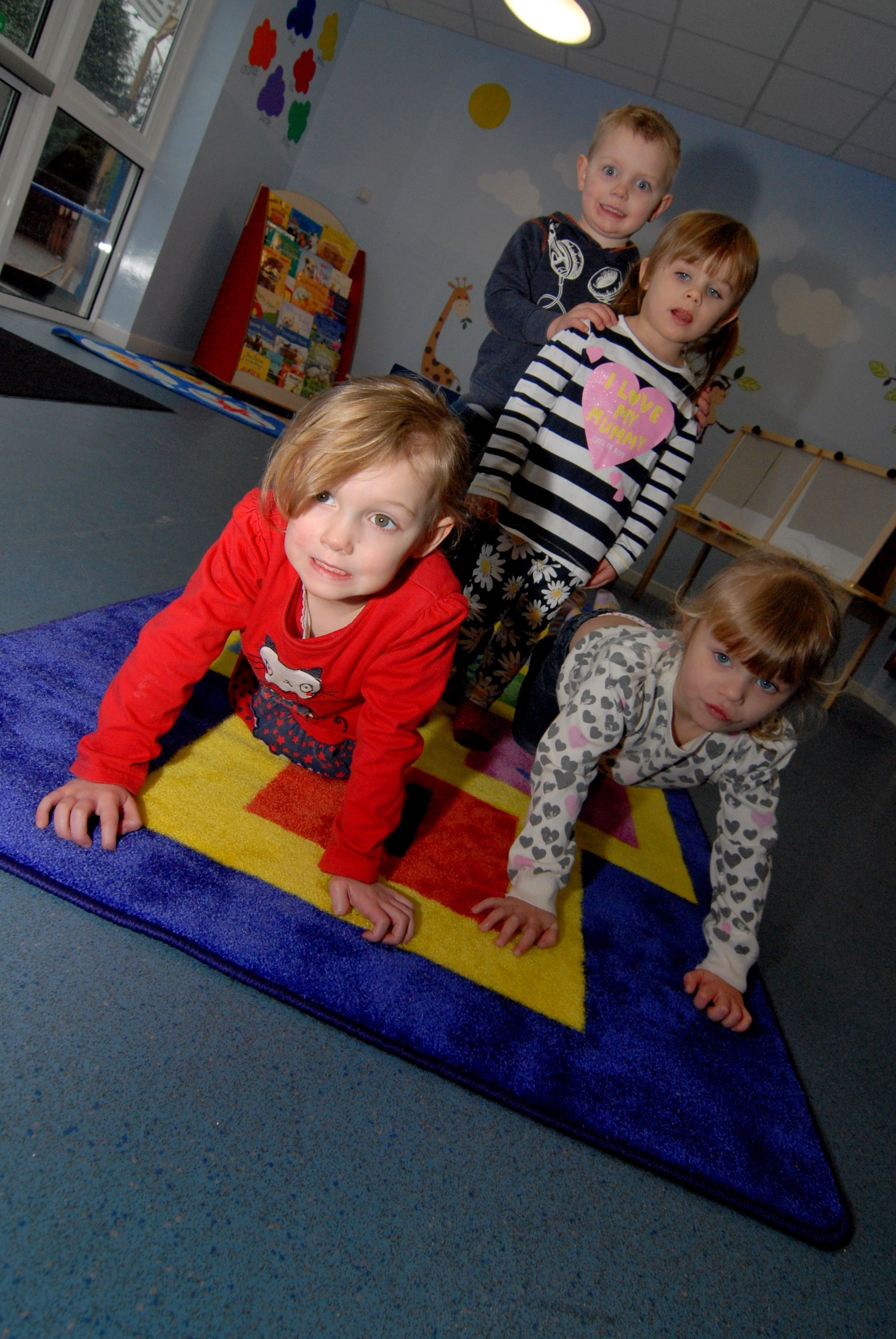 14/02/14. Callow End Primary School has received a £1,500 grant from Powick Parish Council to help set up a new pre-school group. Left to right - Harriet Ray aged 4, Connor Napierski 3, Emileigh Humphries 3 and Frankie Humphries 3. Picture by Nick T