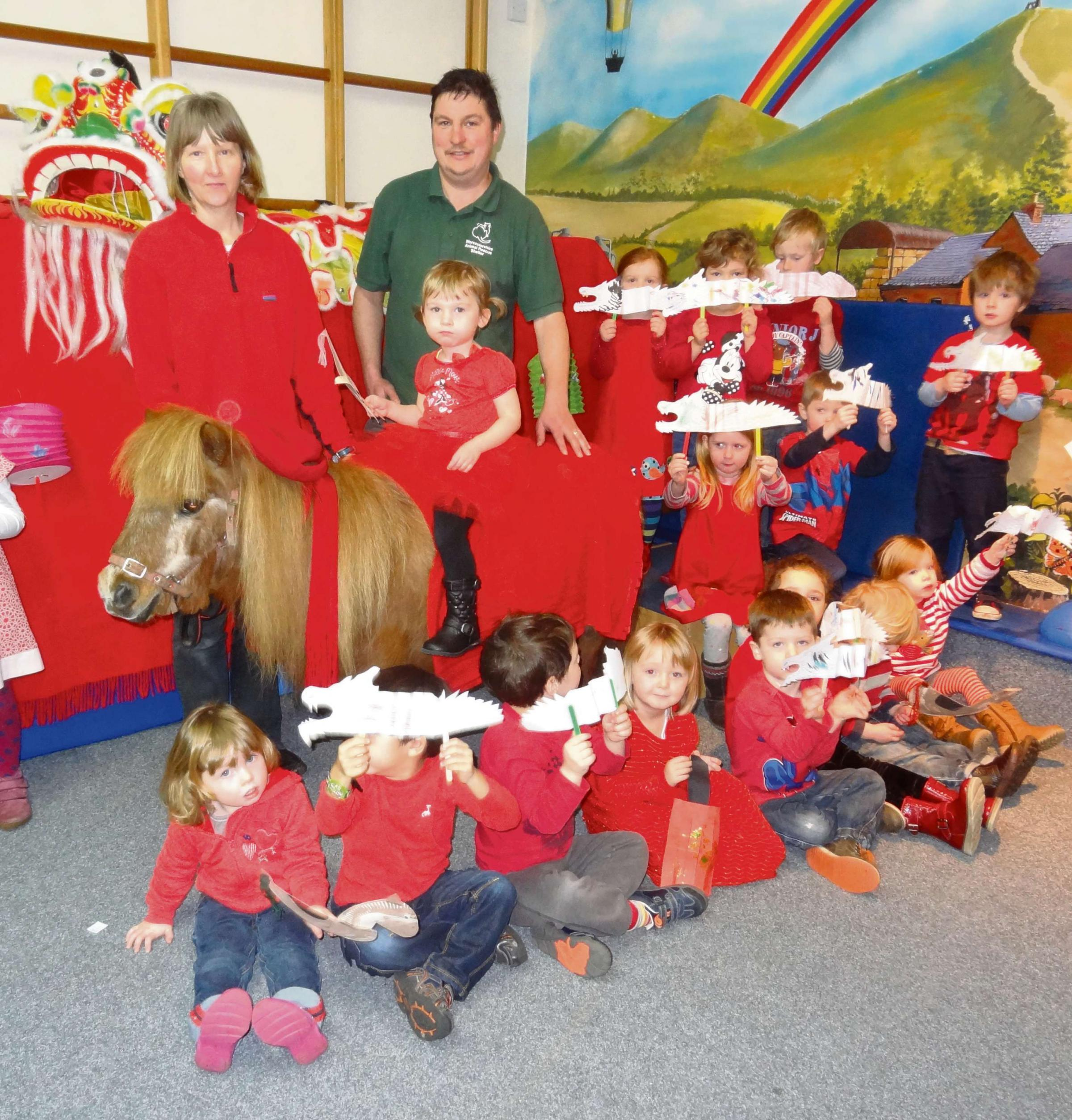 The children were joined by Helen Deamer, equine specialist at Madresfield Early Years Centre and Darren Rooker