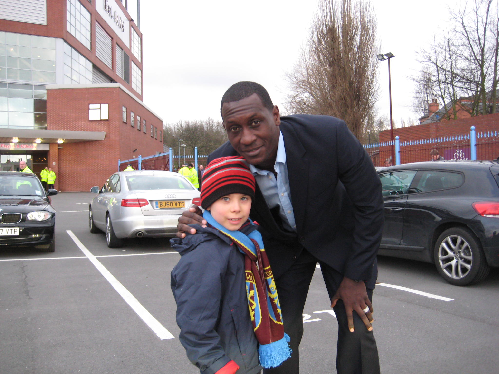 Jake gets a pat on the back from England star Emile Heskey