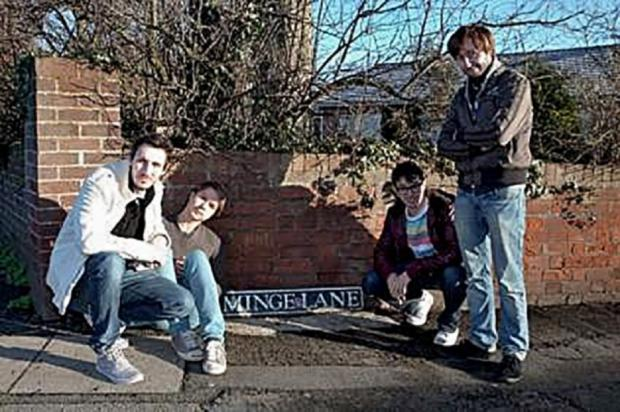 Malvern Gazette: RUDE: Cast members from TV's The Inbetweeners, who visited Minge Lane for Comic Relief