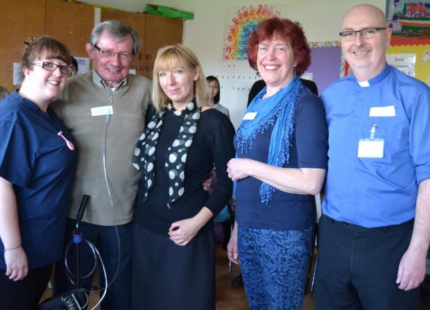 BREATHE: Catherine Moore, Martyn Clarke, Elaine Bevan-Smith, Hilary Davies and David Southall at the first choir meeting on February 27.