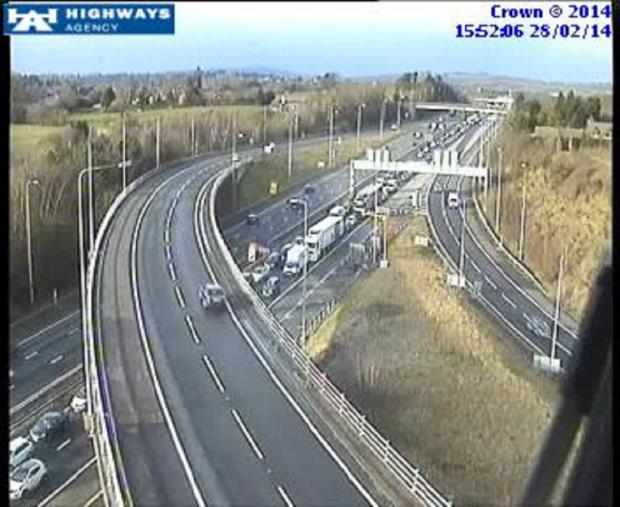 The scene at junction 4A with the M42 at 3.52pm this afternoon