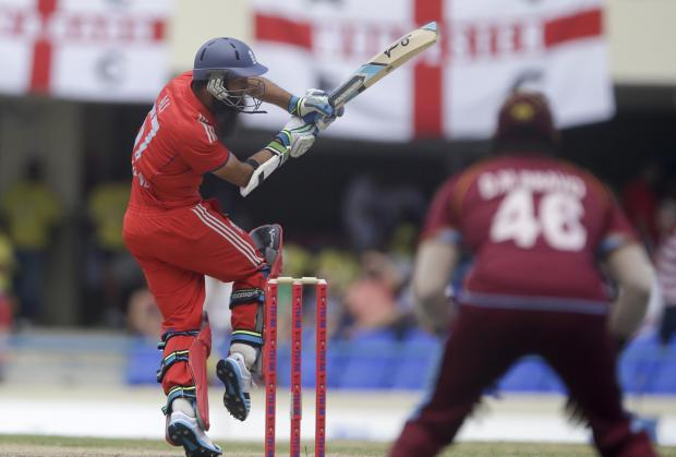 England's Moeen Ali bats during the second one-day international cricket match against West Indies at the Sir Vivian Richards Cricke