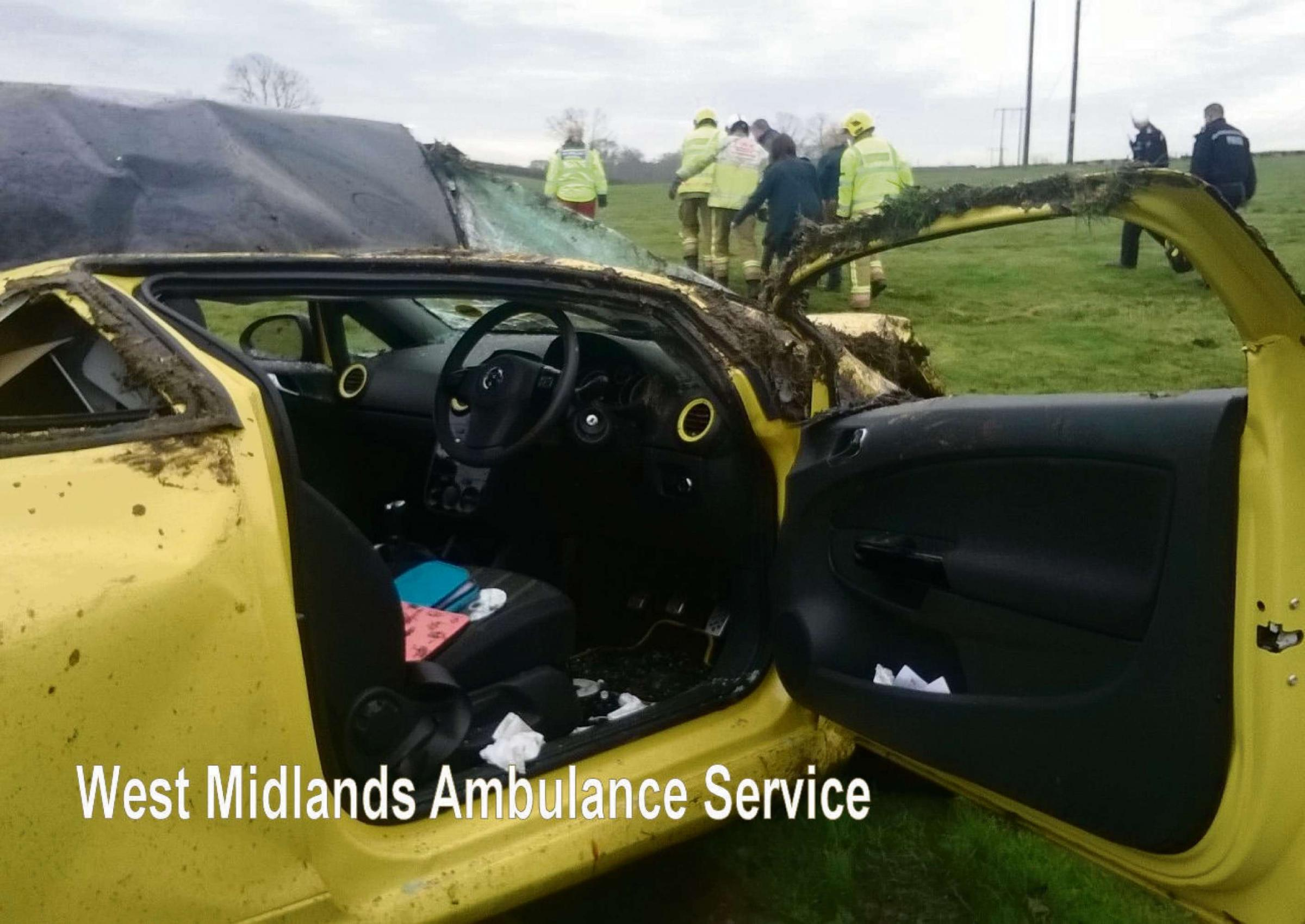 OVERTURNED: West Midlands Ambulance Service was called to a field near Flyford Flavell