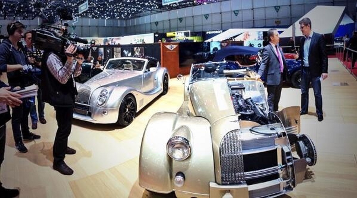 STAR: Admirers on the Morgan stand at the Geneva Motor Show. Picture: Morgan Motor
