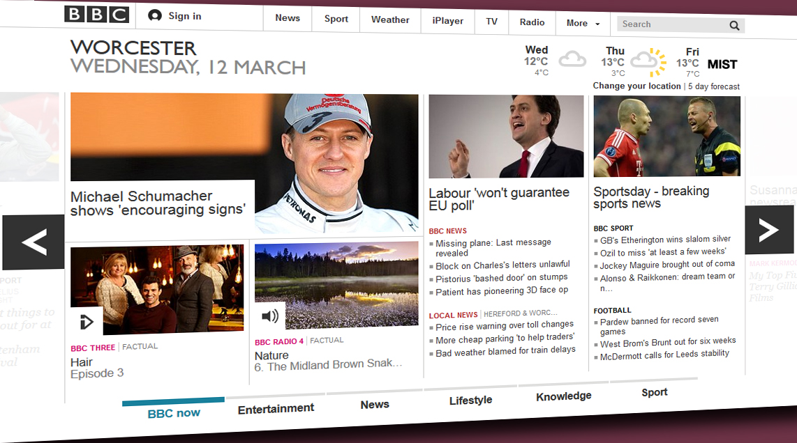 Malvern Gazette: BBC homepage March 2014