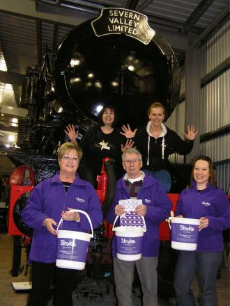 Front to back, left to right: Stroke Association volunteers Teri James and Tony James with Sophie James, the association's community and events fund-raising manager, Amanda Hopkins, area manager of Got 2 Sing, and Beth Dunn, founder and director of Go