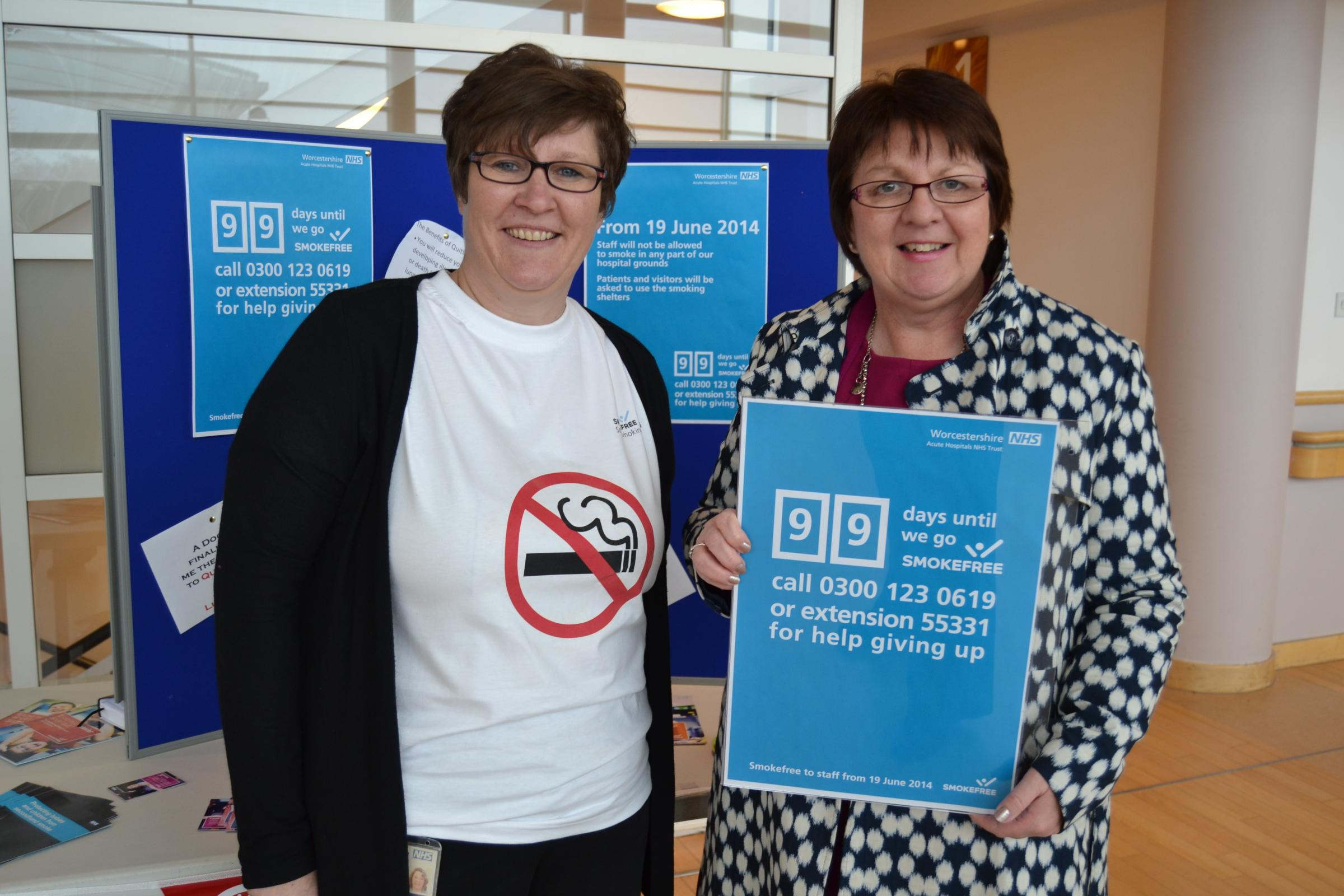 Worcestershire Acute Hospitals NHS Trust stop smoking advisor Jan Robbins and director of human resources Be