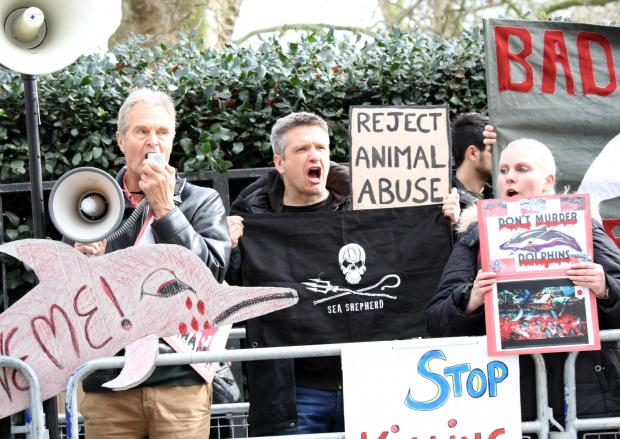 Mark Muschamp, centre, at a recent Sea Shepherd demo outside the Japanese Embassy in London.