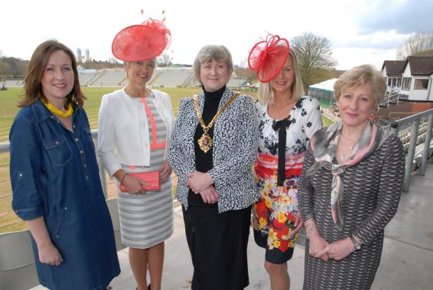 From left - Becky Sutcliffe, twentyfive boutique, Cindy Southall, Pat Agar, mayor of Worcester, Maria Wilson and Cecilia Denlegh- Maxwell, chairman of the Friends of Three Choirs Festival. Picture by Paul Jackson. 1314557001