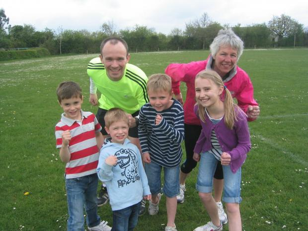 Malvern Gazette: Getting in training for the Crowle 10k and Fun Runs are (back row L-R) Peter Battle and Caroline Brookes, (front row) Charlie Brooks (7) and Harry Brooks (4), Charlie Dixon (8) ad Hannah Dixon (10).