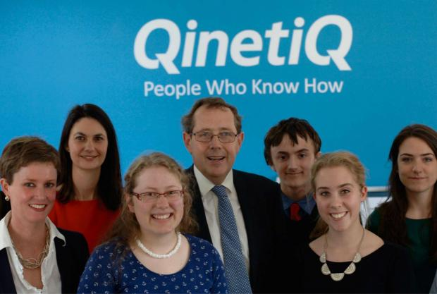 Malvern Gazette: Sir Peter Luff MP meets QinetiQ graduates and students from The Chase School currently on placement with QinetiQ. Dr Mary Haigh, Head of Cyber Defence at QinetiQ, is on the far left.