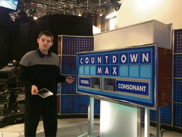 Max Jakes at the Countdown studios in Manchester