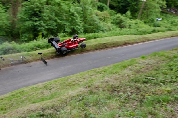 CRASH: Wallace Menzies loses control of his car at Shelsley Walsh. Picture by reader Tim Mason