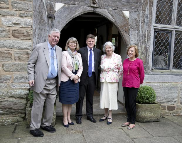 Malvern Gazette: FORMER DEFRA minister Richard Benyon MP (centre) is welcomed to Birtsmorton Court by (from left) Patrons' Club Chairman, Sir Jerry Wiggin, West Worcestershire Conservative Association president