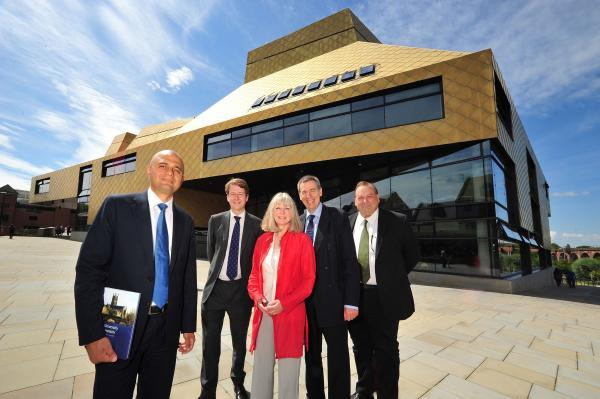 Sajid Javid, far left, outside The Hive in Worcester yesterday with city MP Robin Walker, Anna Hannaford, from the university, vice-chancellor Proff David Green and Cllr Adrian Hardman, county counc