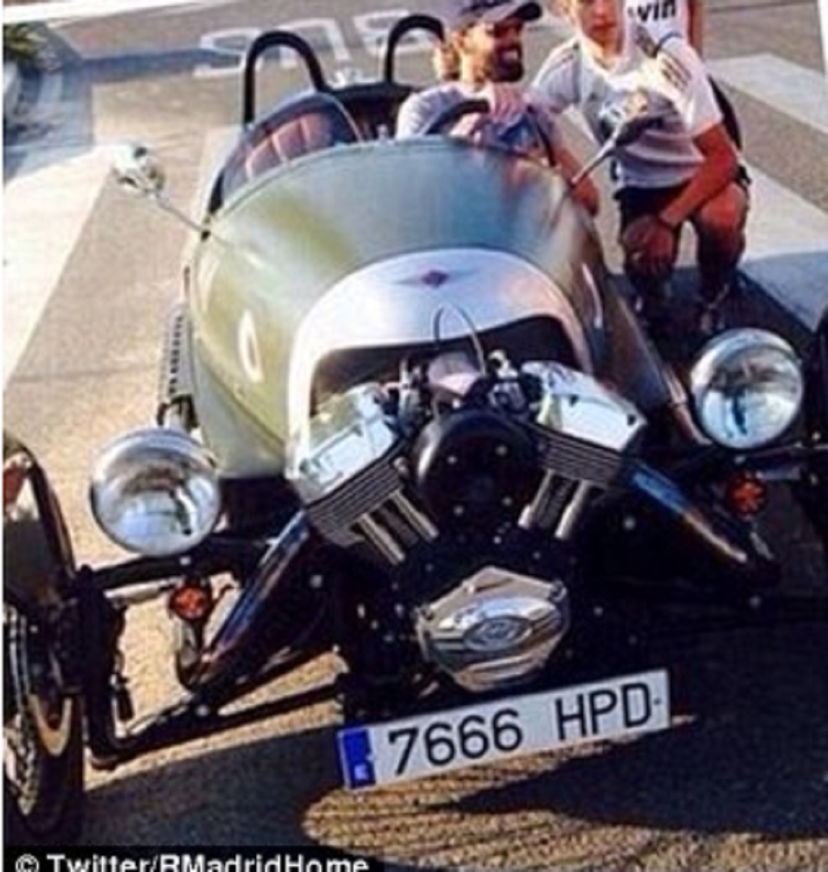 World Cup winner causes a stir by arriving to training in a 3	 Wheeler Morgan car