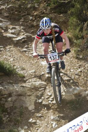 BRITISH CALL-UP: Mountain bike rider Evie Richards races in Redruth in the National Series. Picture: PETER CREBER.