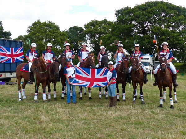 TEST TRIUMPH: The winning United Kingdom polocrosse team are pictured with Ledbury Hunt Pony Club's Charlie Ralli third from left, Freddie Leith fourth from left, Erin Tufnell second from right and Meg Smith far right. Picture: CAROLE LEITH.