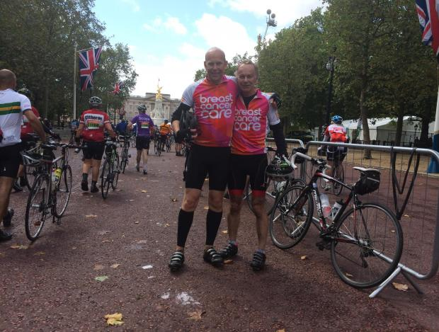 David and Matthew Toye in The Mall at the end of their gruelling cycle challeng