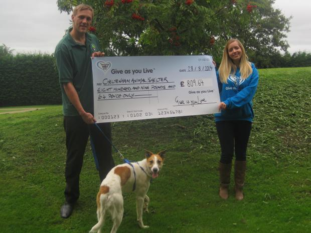 DONATION: Reuben Croft of Cheltenham Animal Shelter and Linda Smith, an account manager at Give as you Live.