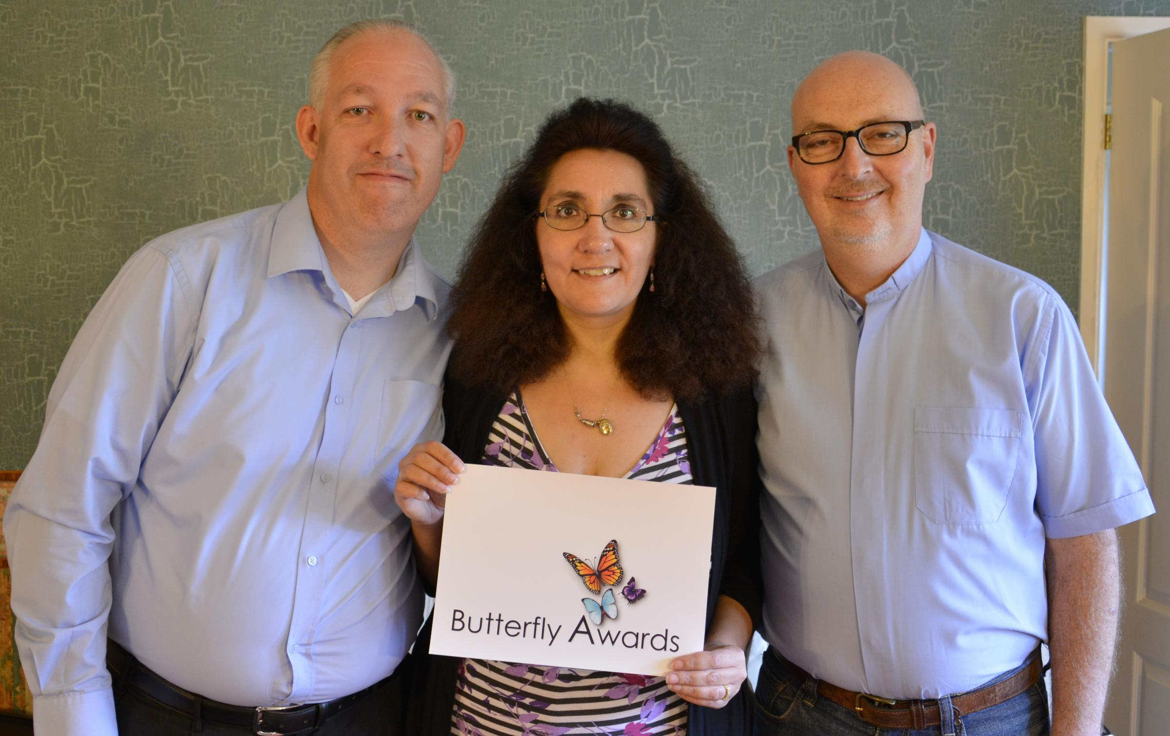 Inspirational: Russell and Lisa Ventura, with hospital chaplain Rev David Southall, have all been nominated for a Butterfly Award. Picture by Russell Ventura (s)