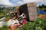 2215884009 DAVID GRIFFITHS, PERDISWELL ALLOTMENTS TORNADO, upside down shed on the allotment.ENDS (27522475)