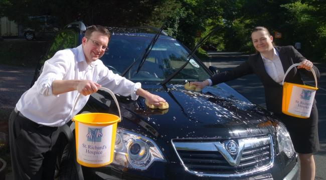 Andrew Phillips and Avril Gibbons practice their valeting skills.