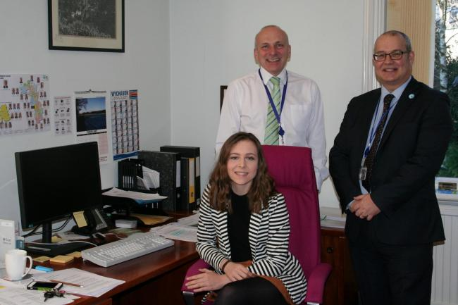 Melissa Parsons with Jack Hegarty, chief executive of Malvern Hills District Council and Phil Merrick, head of economy and communities. (56850926)
