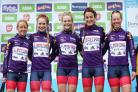 Team Great Britain's (left-right) Emma Pooley, Evie Richards, Eleanor Dickinson, Lizzie Armitstead and Alice Barnes. Picture: Tim Goode/PA Wire