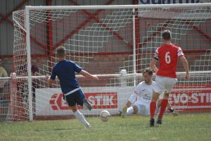 Garyn Preen scores for Hungerford Town. Photo: Andy Fitzsimmons