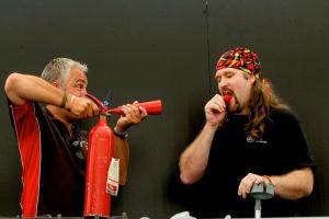 HOT STUFF! Chilli Dave and Jay Webley from the Clifton Chilli Club trying out the Carolina Reaper chilli