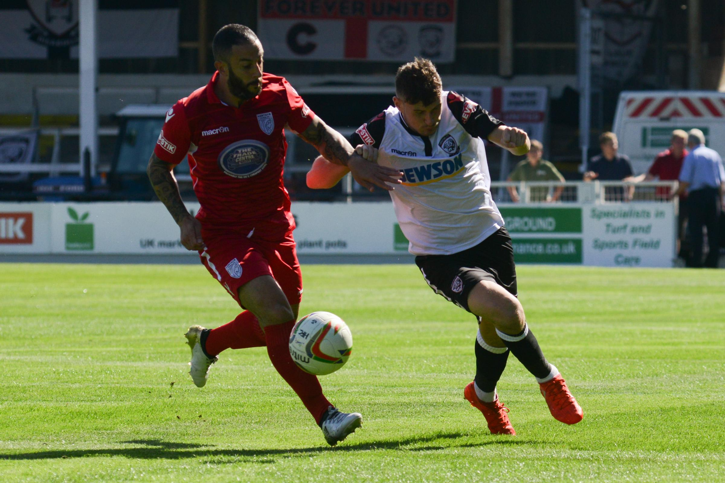 Stuart Fleetwood in action for Merthyr Town during his side's game against Hereford earlier this season