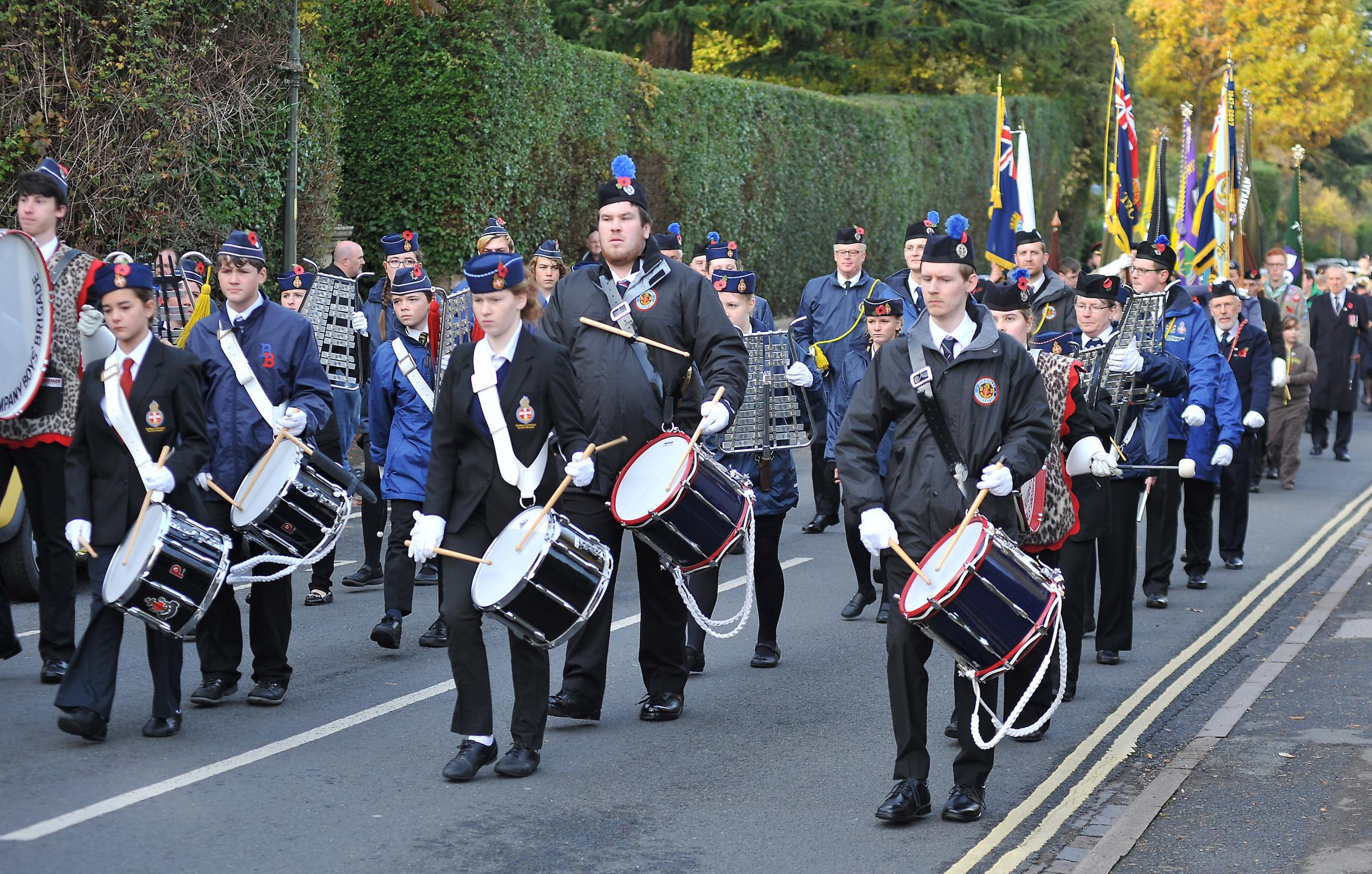13/11/16. Malvern Remembrance Sunday service. The parade makes its way along Graham Road. Picture by Nick Toogood..