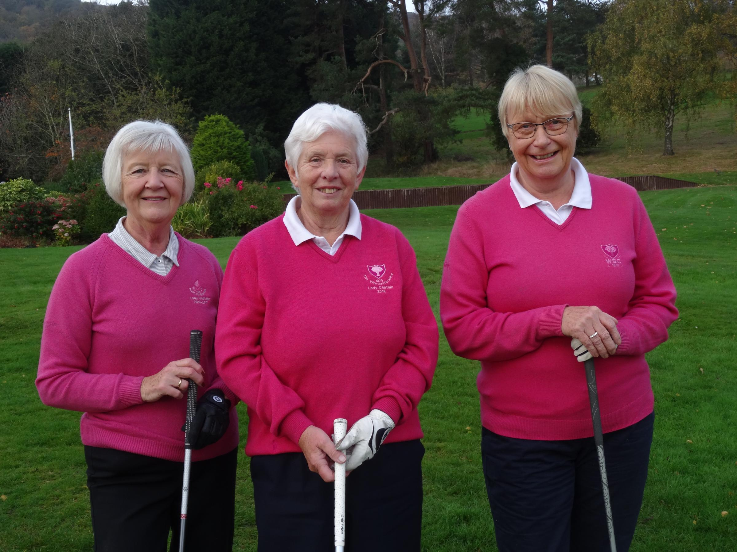 The Worcestershire's immediate past captain Elsie Kelsall, new lady captain Susan Boardman and vice-captain Julia Radley. Picture: JAN KIRKLAND