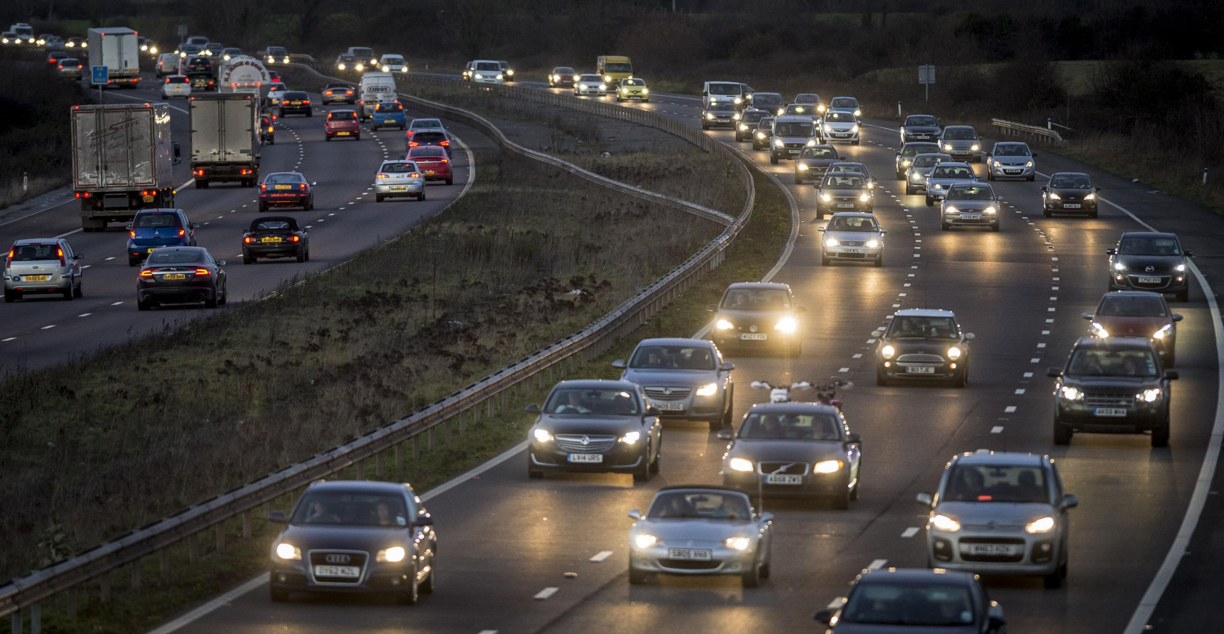 File photo dated 19/12/14 of motorway traffic , as Dr Graham Cookson, chief economist at transportation analysts Inrix has warned that drivers embarking on the Christmas getaway have until lunchtime to avoid severe jams on many roads. PRESS ASSOCIATION Ph