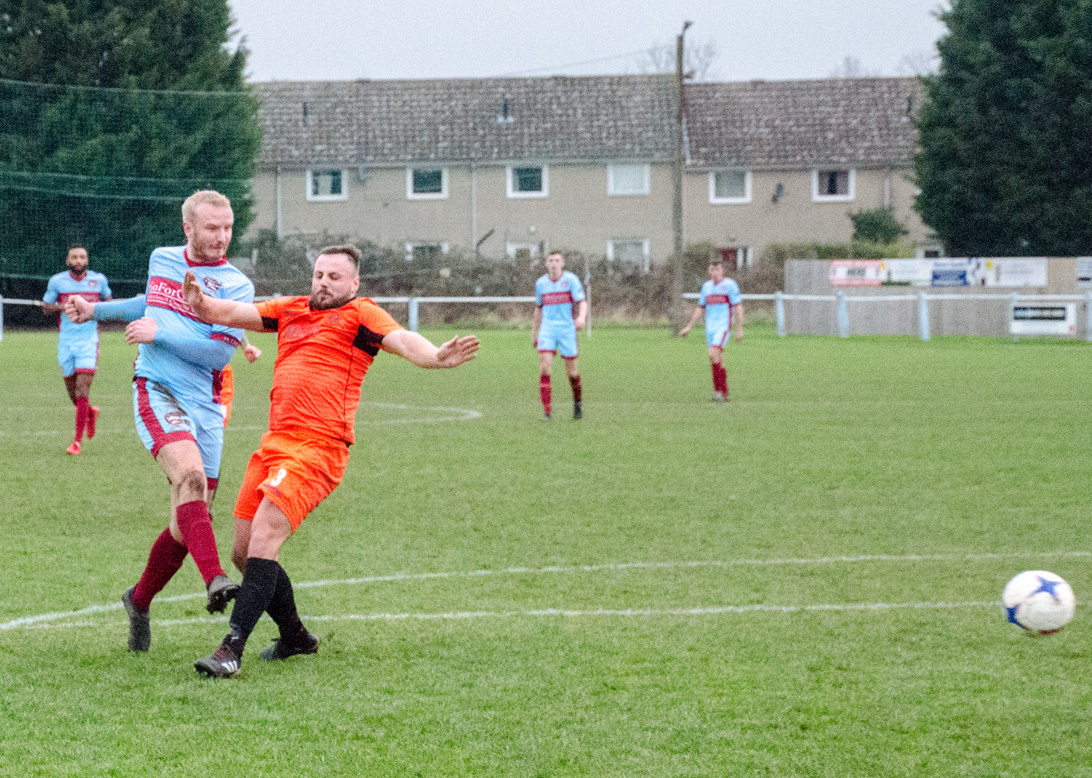 Matt Turner scores his second and Malvern Town's fourth. Picture: ROGER KING
