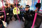 West Mercia PCSO's prepare to travel on the X44 bus from Crowngate Bus Station, Worcester. (From the left) PCSO Linda Pawley, PCSO Dave Clee and PCSO Kev Tudge. Pic Jonathan Barry 16.1.18.