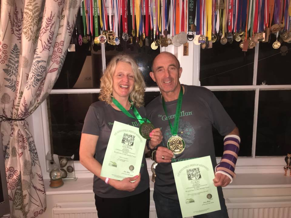Malvern Joggers' Lynda Broadway and Mike Anstey at the Green Man Ultra 45-mile challenge