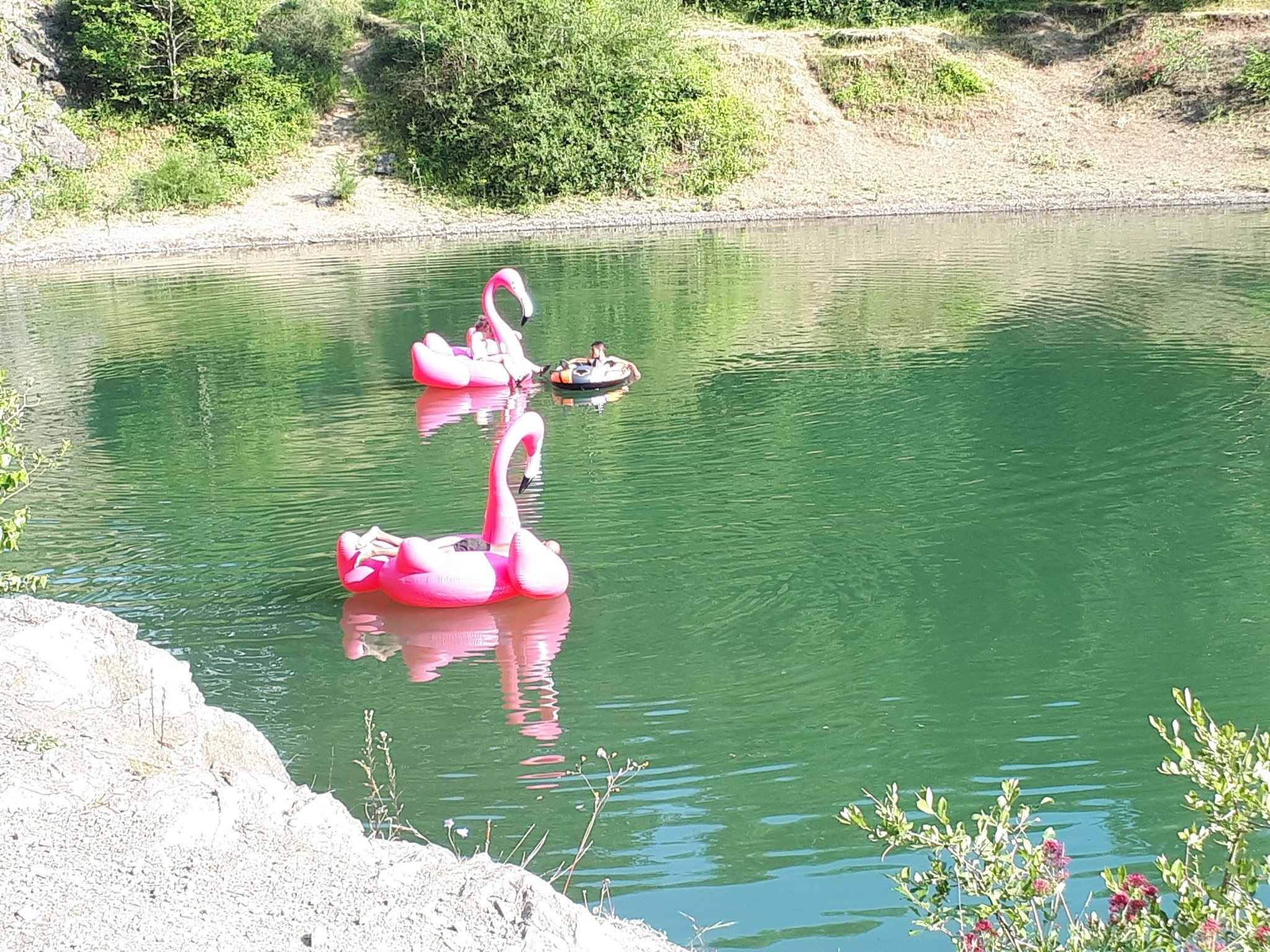 People and inflatables in the Gullet Quarry