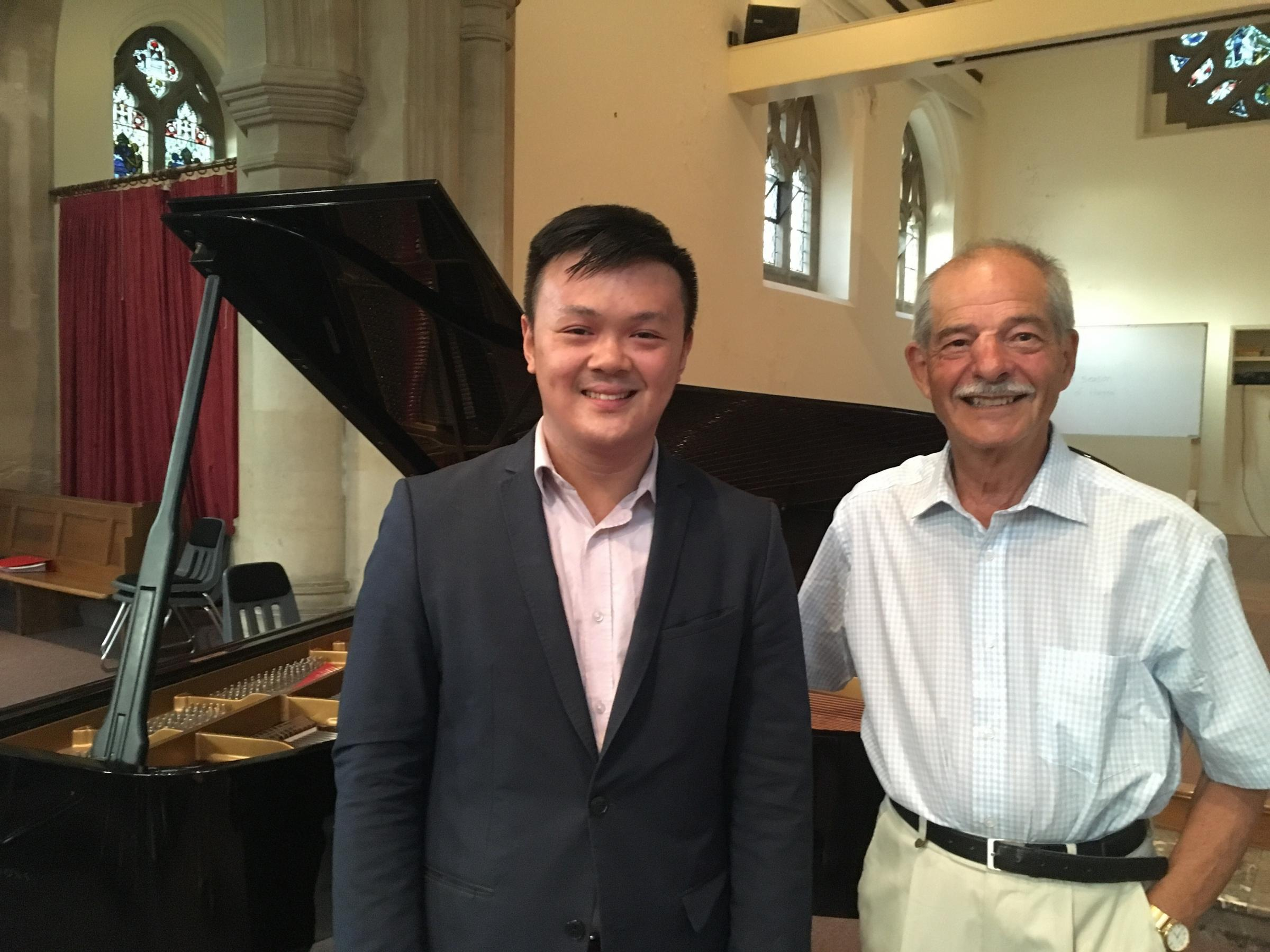 Edward Leung pictured with Malvern Concert Club vice-president Joseph Brand