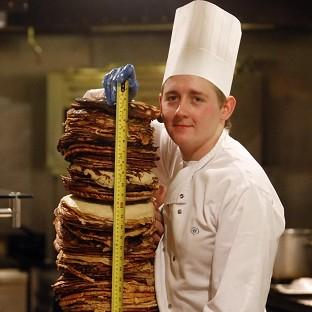 Malvern Gazette: Chef Sean McGinlay attempts a world record to create the world's tallest pancake stack
