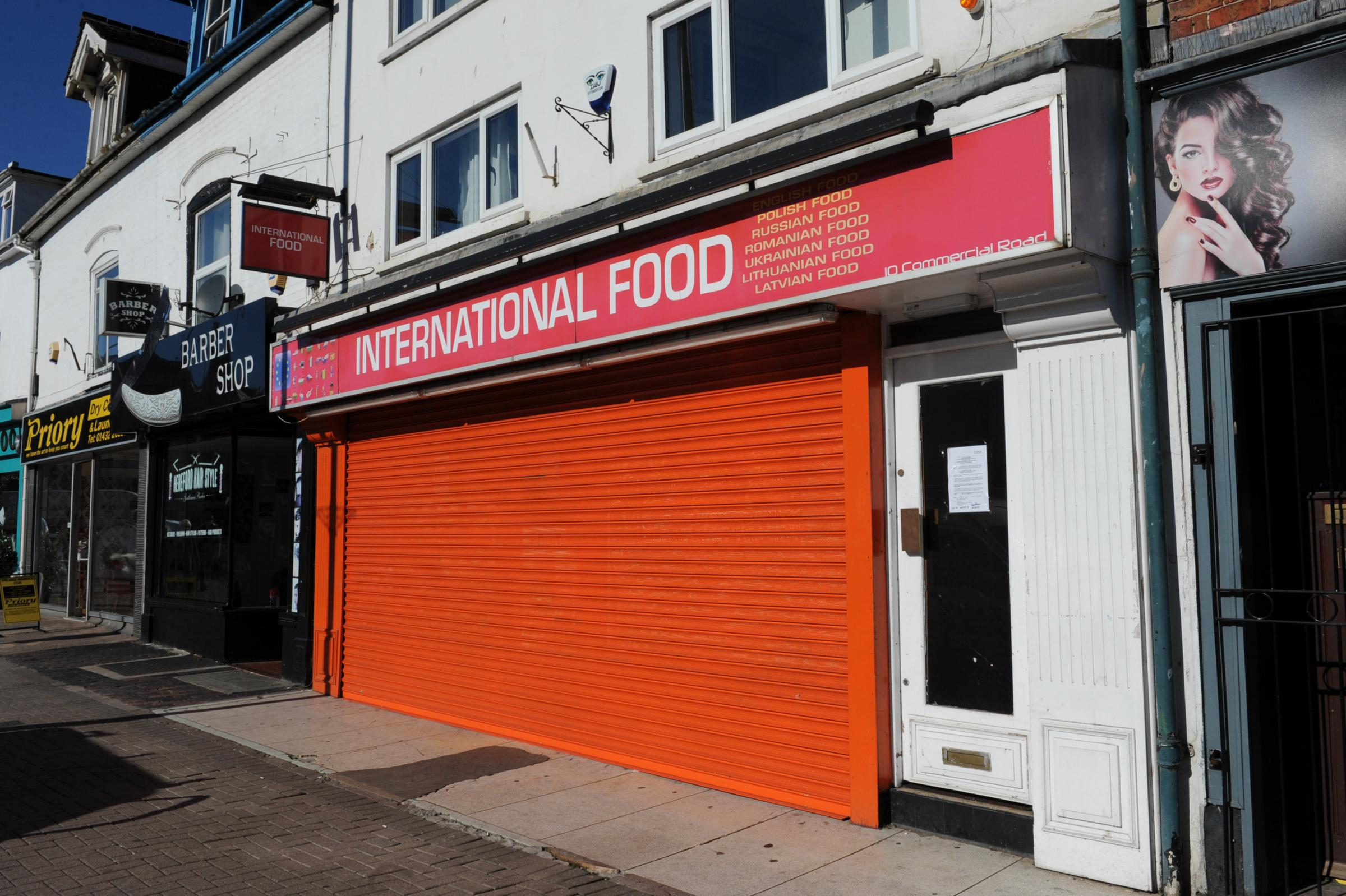 International Food shop on Commercial Road, Hereford.